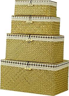 Ensemble de 4 pièces d'algues naturelles Boîte rangement tissé à la main, coton drapage en drapage dames damier Boîte rang...