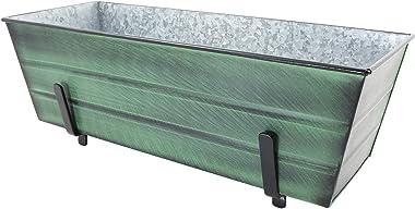 Achla Designs VFB-05-K6 Medium Green Flower 2 x 6 Railings Window Box with Brackets