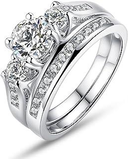 BISAER Set of 2 18K White Gold Plated Rings Princess Cut Round Prong Set 3 Stone Diamond Cubic Zirconia Halo Engagement Wedding Ring Set Fashion Jewelry for Women Men Girls Sizes 6