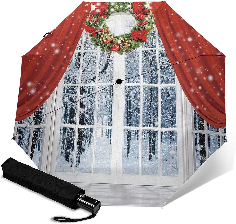 Red Louisville-Jefferson County Limited price Mall Christmas Print Automatic Umbrella Three-Folding Waterproof