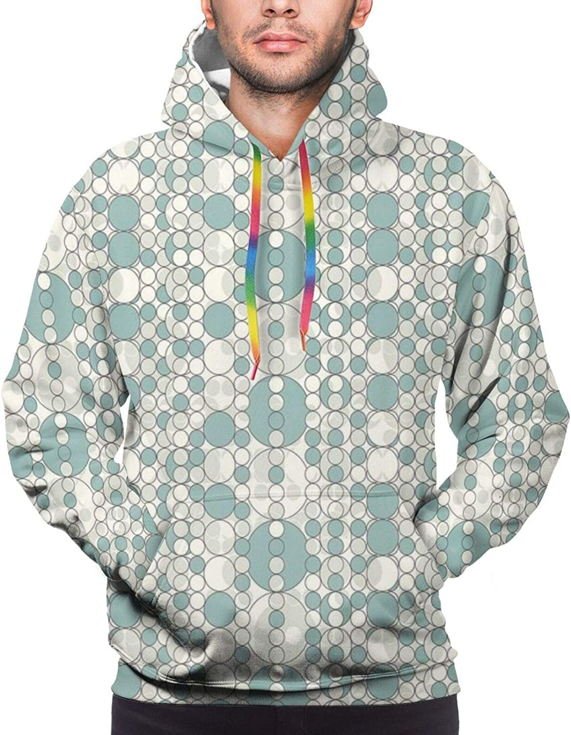 Men's Hoodies Sweatshirts,Abstract Circles Linked Round Geometric Forms in Soft Faded Tones Artwork,Small