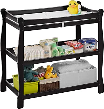 Baby Changing Table, Infant Diaper Changing Table Natural Wood with 2 Fixed Shelves Storage, Nursery Station with Changing Pad and Safety Belt, Black