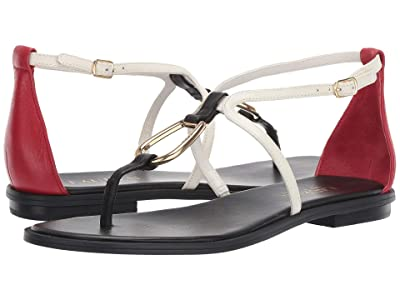 LAUREN Ralph Lauren Nanine (Black/Vanilla/Rl2000 Red Super Soft Leather Color Blocked) Women