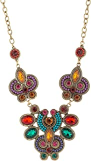 LUREME Ethnic Style Colorful Crystal and Bead Flower Pendant Gold Statement Necklace for Women (01001436)