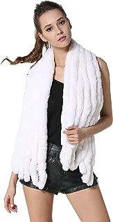 Winter Real Fur Large Scarves Rex Rabbit Fur Shawls Knitted Furry Wraps Women's Soft Neckwarmer