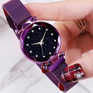 Acnos Black Round Diamond Dial with Latest Generation Purple Magnet Belt Analogue Watch for Women Pack of - 1 (DM-PURPLE11)