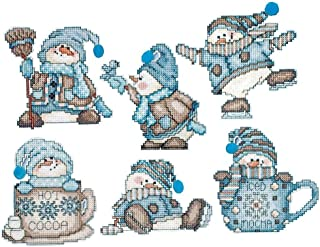 Design Works Counted Cross Stitch Kit 6 Ornaments - Cocoa Snowment