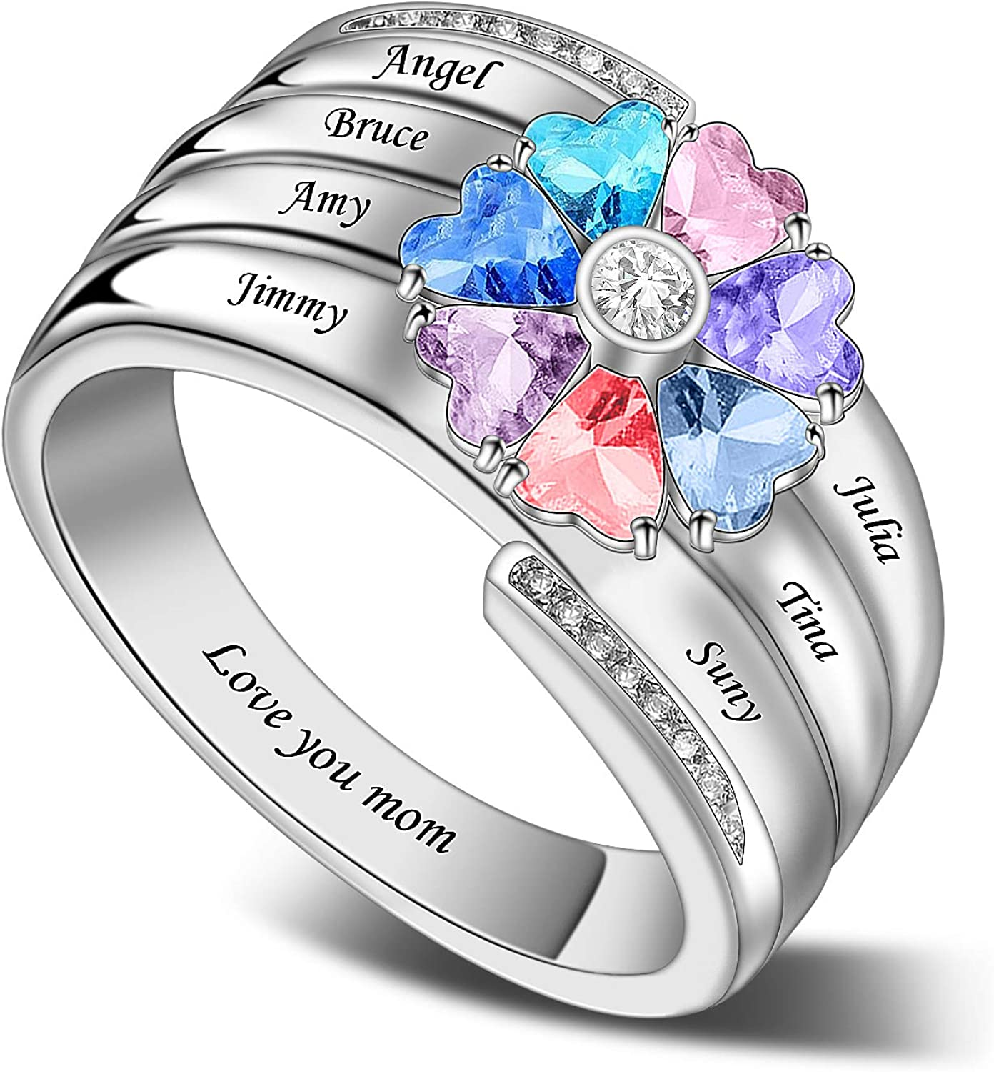 Personalized Sterling Silver Mothers Ring with 2 7 Sim 4 5 3 6 休み 誕生日プレゼント 8