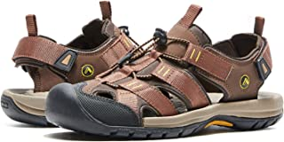 AMIDEWA Men's Hiking Sandals Closed Toe Adjustable Outdoor Sport Water Shoes for Athletic Fisherman Beach Walking