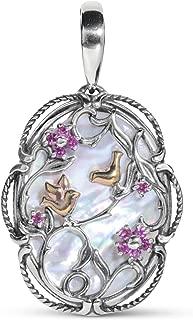 Sterling Silver & 14K Rose Gold Plated Rhodolite Garnet and Mother of Pearl Bird Flower Pendant Enhancer