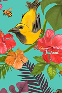 Journal: Yellow Bird Notebook, Blank Lined Pages, Composition Book, Tropical Flora With Birds And Bees