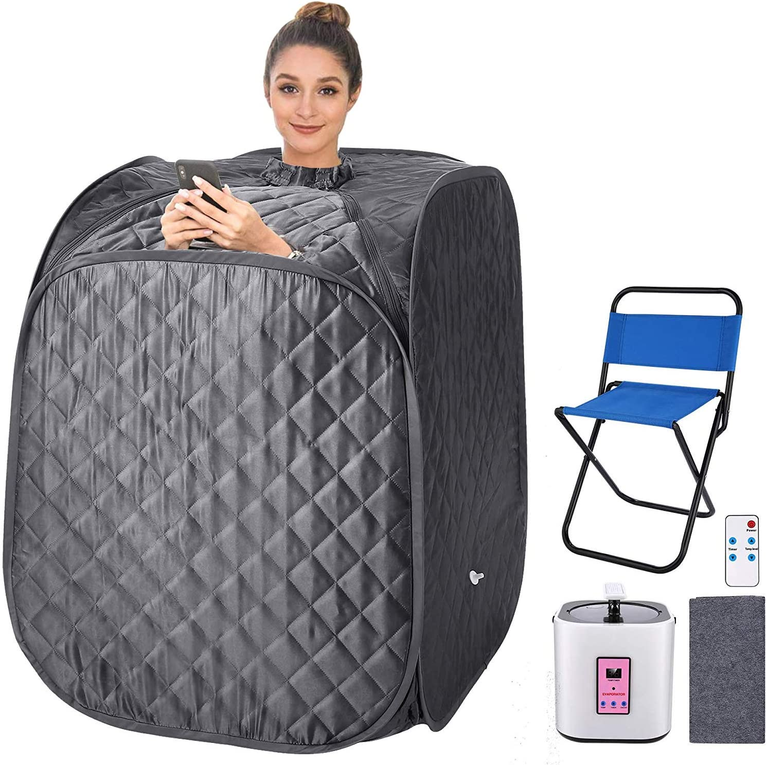 pardise Portable Personal Sauna 2L Home Steam Sauna Tent Folding Indoor Sauna Spa with Remote Control, Timer, Foldable Chair (Gray)