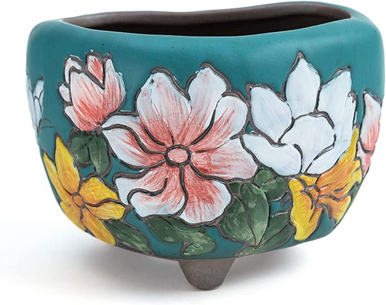 Hand-Painted Max 71% OFF Succulent Flower Pots Green Po Ceramic San Antonio Mall Dark