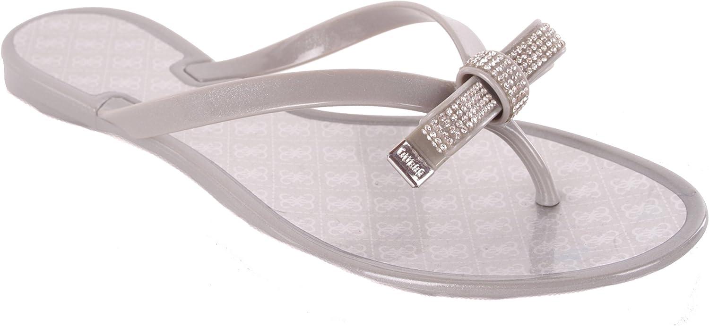 Guess Damen Sandalen Zehentrenner Grau