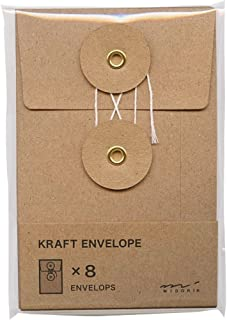 Midori Kraft Small Brown Envelopes 8 Pack With String Fastening
