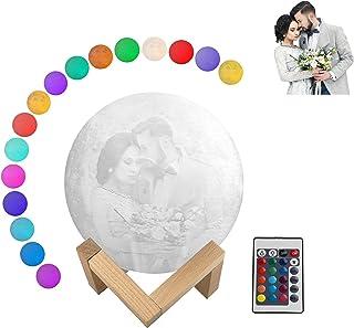 Lámpara de luna con foto personalizable, 10 cm, 12 cm, 15 cm, 18 cm, 20 cm, LED grabado, lámpara de luna 3D con soporte (2/16 colores, mando a distancia)