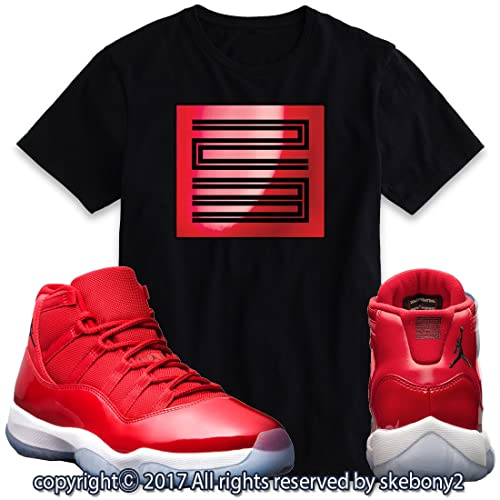 46b511a0499c23 Custom T Shirt Matching AIR Jordan 11 Win Like 96 Matching TEE Bulls red JD-