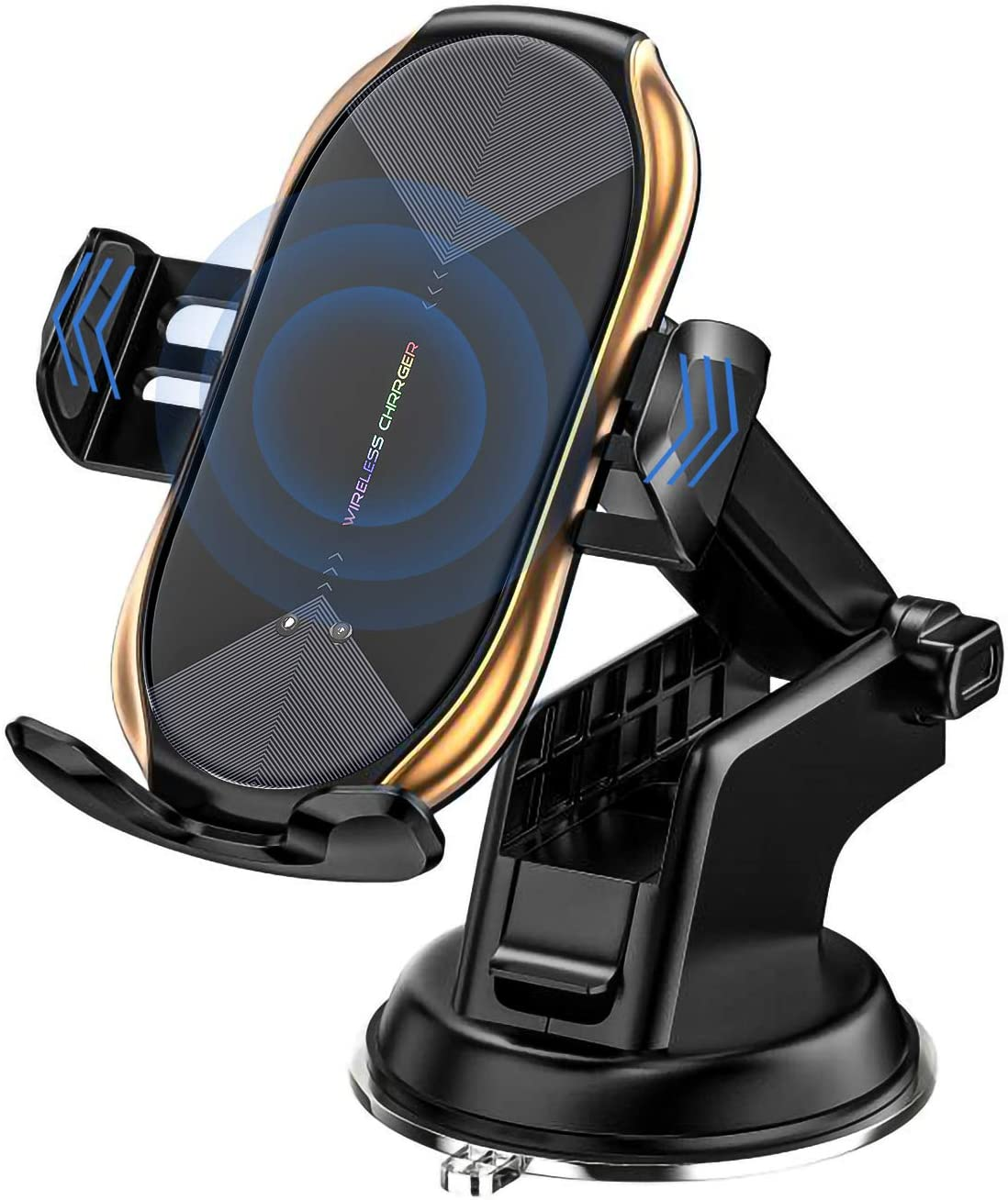 Wireless Car Charger Mount, Auto-Clamping Qi 10W 7.5W Fast Charging Car Phone Holder Air Vent Compatible withiPhone11/11Pro/11ProMax/XSMax/XS/X/8/8+ Samsung S10/S10+/S9/S9+/S8/S8+/Note (Golden)