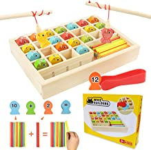 Wooden Fishing Games Math Counters Toy Toddlers & Kids - Educational Preschool Montessori STEM Learning Kindergarten Manip...