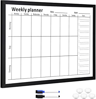 "Navaris Weekly Planner White Board - 16"" x 24"" Magnetic Dry Erase Whiteboard Calendar with 7-Day Week Plan for Wall - Incl... photo"