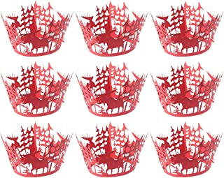 Healifty Hollow Out Snowflake Cupcake Wrappers Decor Wrap 50 Pcs(Red)