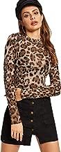 SweatyRocks Women's Long Sleeeve Mesh Shirt Sheer See Through Top Blouse