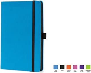 CALYPSO Ruled, Flexicover Notebook Journal with Premium Paper, 192 Lined Pages, Pen loop, Bookmark ribbon, Gusseted back pocket, Torquois Blue Cover, Size 5.5