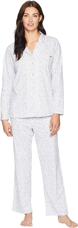 Cotton Jersey Notch Collar Pajama Set