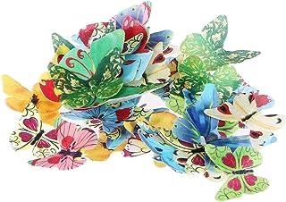 LIOOBO Schmetterling Kuchen Dekoration Essbare Reispapier Cake Deko 40Pcs Verschiedene Muster