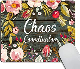 Smooffly Funny Quote Gaming Mouse Pad Custom, Chaos Coordinator Quotes Vintage Colored Floral Wreath Print Rustic Old Wood Art Mouse Pads