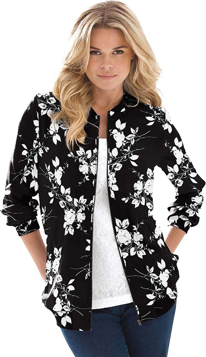 Roaman's Los Angeles Mall Women's Plus Size Bomber Jacket Direct store Printed