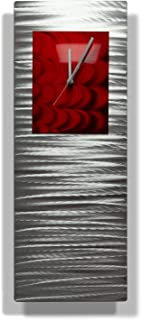 Statements2000 Metal Wall Clock Art Abstract Silver Red Accent Decor by Jon Allen, Red Radiance Clock