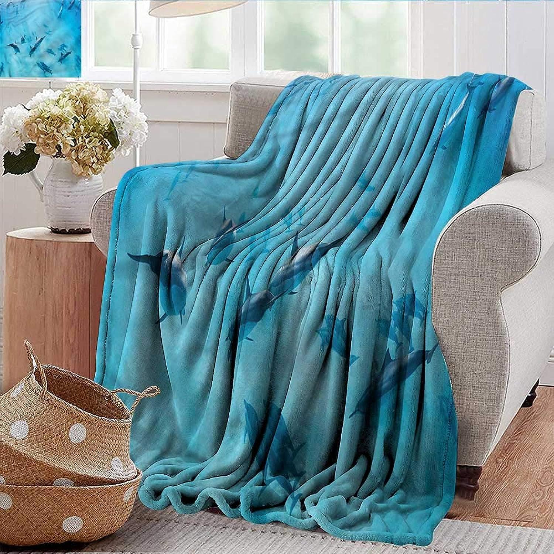 Xaviera Doherty Weighted Blanket Adult Hawaiian,Dolphins Hawaii Ocean Super Soft Faux Fur Plush Decorative Blanket 35 x60