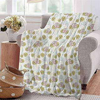 Luoiaax Swan Children`s Blanket Blossoming Water Lilies with Green Leaves Algae and Hearts Love of Gentle Nature Theme Lightweight Soft Warm and Comfortable W60 x L50 Inch Multicolor