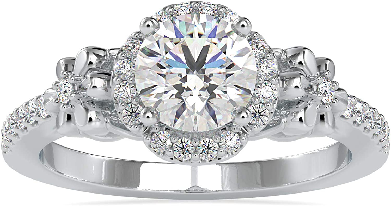 Certified Halo Solitaire Engagement Ring 0.36 IJ with 5 High quality new ☆ popular Studded Ct