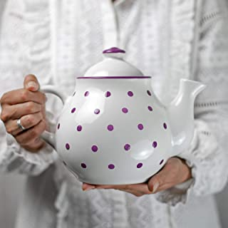 City to Cottage Handmade White and Purple Polka Dot Large Ceramic 1,7l/60oz/4-6 Cup Teapot with Handle and Lid, Unique Pottery Housewarming Gift for Tea Lovers