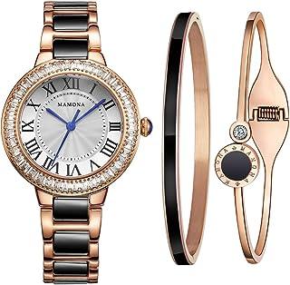 MAMONA Women's Watch Bracelet Gift Set Crystal Accented Black Ceramic/Stainless Steel L68008BKGT