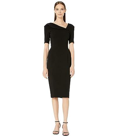 Zac Posen Bonded Crepe Asymmetric Neckline Fitted Cocktail Dress (Black) Women