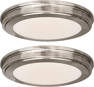 Hykolity 13 inch Brushed Nickel LED Ceiling Flush Mount, 3000K/4000K/5000K Switch 1365LM, 180W Incandescent Equivalent,CRI90 LED Round Ceiling Light Fixture for Bathrooom Bedroom Dining Room Office-2P