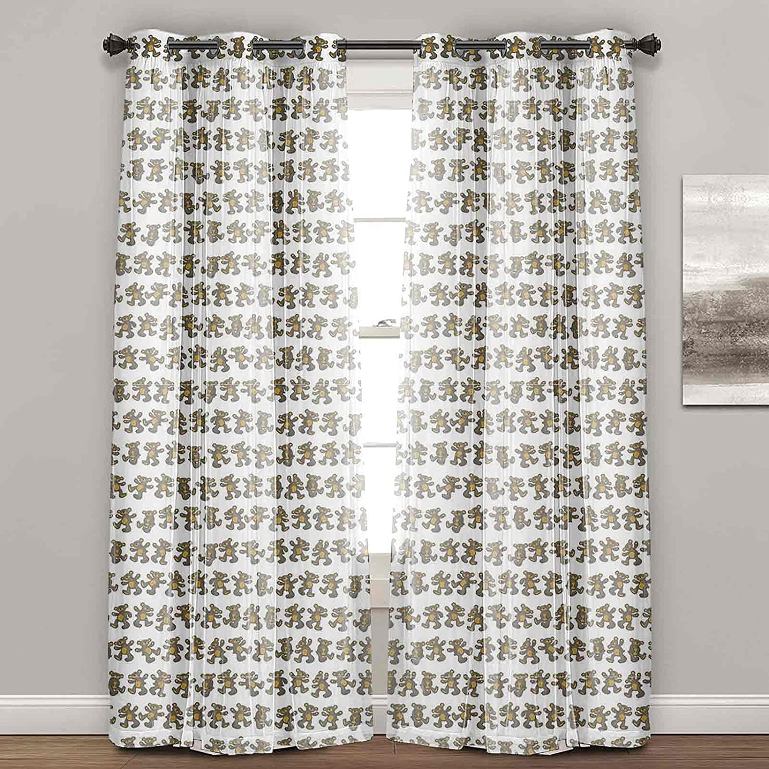 Quantity limited Bear Curtains 5 ☆ popular for Bedroom Simplistic Teddy Patterns Childr