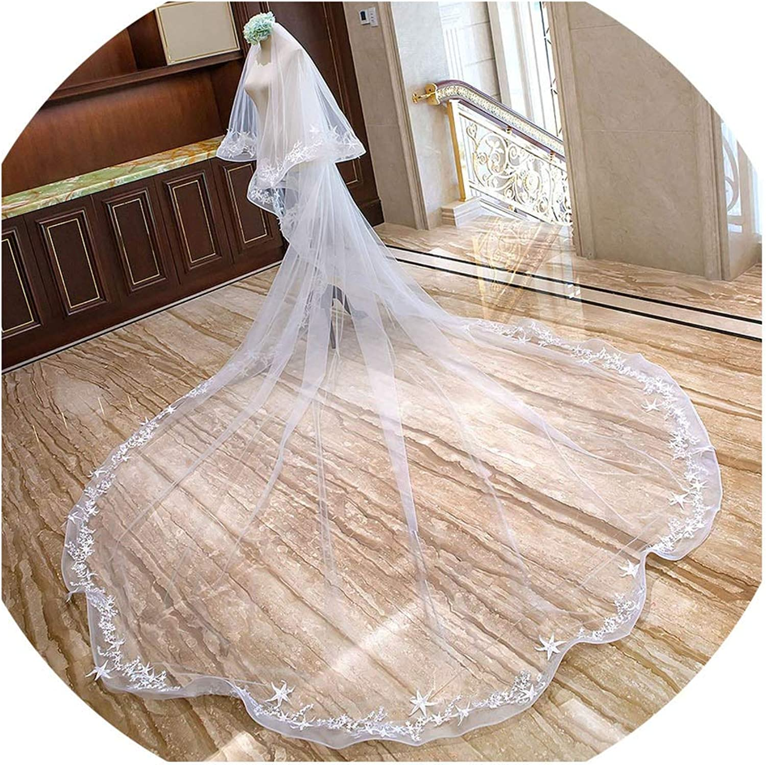 2 Layers Lace Appliques ar White ivory Bridal Veil Width 4M Long Cathedral Long Veil For Women Wedding Hair Veil,Ivory