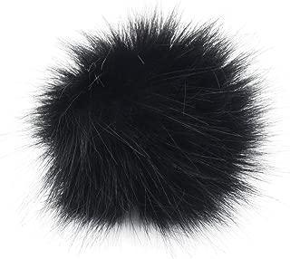 DIY 12pcs Faux Fox Fur Fluffy Pompom Ball for Hats Shoes Scarves Bag Charms (Black)