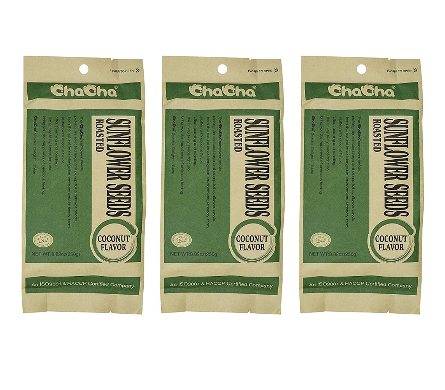Oakland Mall ChaCha Coconut Flavored Roasted Sunflower Seeds o supreme 3 Total Pack