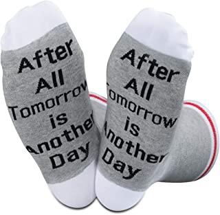 TSOTMO 2 Pairs Inspirational Gift After All Tomorrow is Another Day Socks Gift for Men Women
