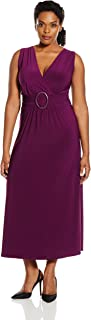 Women's Plus-Size Sleeveles O-Ring Maxi Dress