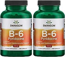 Swanson Vitamin B-6 Pyridoxine 100 mg 250 Caps 2 Pack