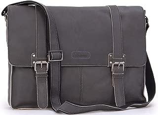 Ashwood Messenger Shoulder Bag - Laptop Bag with Padded Compartment - Business Office Work Bag - Genuine Leather - Calvin - Camden 8356 - Black