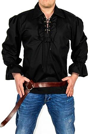 FOXXEO Camisa Pirata Hombre Camisa Negra Camisa Carnaval ...