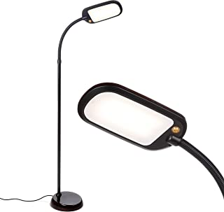 Brightech Litespan Slim - LED Reading & Craft Floor Lamp - Dimmable & Light Color Adjustable with Touch Switch - Standing Tall Pole Task Lamp with Gooseneck for Office - Brown