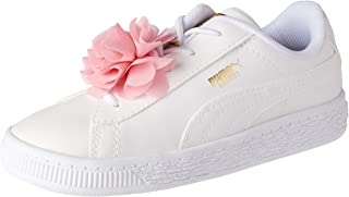 PUMA Baby Boys Basket Flower AC INF Sneakers, White-Pale Pink
